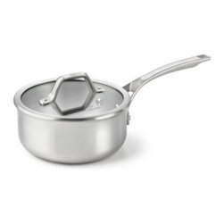 Calphalon AcCuCore 2.5qt. Shallow Sauce Pan with Cover - The Calphalon AcCuCore 2.5qt. Shallow Sauce Pan with Cover is a necessary member of your kitchen staff. This saucepan allows more food to be cooked at once than a frying pan, as it is deeper. Plus, the higher sides help prevent spills. This pan consists of five metal layers that are fashioned from three different heavy-gauge metals. The accelerated heating and cooling capabilities of the pure copper core allow for superior temperature control. The two layers of aluminum encasing the copper core ensure equal distribution of heat. The final two layers of stainless steel provide a professionally versatile cooking surface.About CalphalonCalphalon's mission is to be the culinary authority in kitchenwares, enhancing the home chef's food experience during planning, prep, cooking, baking, and serving. Based in Toledo, Ohio, Calphalon is a leading manufacturer of professional quality cookware, cutlery, bakeware, and kitchen accessories for the home chef. Calphalon is a Newell-Rubbermaid company.Calphalon's goal is to give you, the home chef, all the tools you need to realize your highest potential in the kitchen. From your holiday roasting pan to your everyday fry pan, count on Calphalon to be your culinary partner - day in and day out, for breakfast, lunch, and dinner for a lifetime.