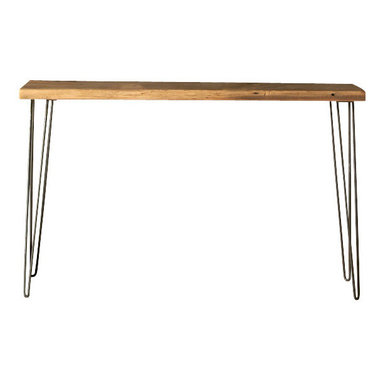 "Urban Wood Goods - Urban Loft Reclaimed Wood Console Table - Thick, 84"" x 11.5"" - Our Urban Loft Console Table is our take on Mid-Century Modern meets rustic for any spot in your home where you could use a little extra style and table space. You will find this hairpin leg table to be so simple and elegant, yet versatile. Our reclaimed wood console table is made of a single 100-150 year old salvaged, plank from a deconstructed barn, home or factory in the Midwest. Each piece has a story and a past all its own."