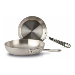 All Clad - All Clad d5 Brushed SS French Skillet Set - d5s patented inner core of premium stainless guarantees more even heating performance over traditional cookware, virtually eliminating hot spots while achieving a new level of stability that is optimised for induction cooking and improves performance on all hob surfaces. Years in development, stainless with patented d5 technology sets a new standard in culinary excellence. The patented stainless core significantly improves stability to prevent warping and maximises the thermal conductivity of aluminium.