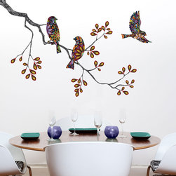 My Wonderful Walls - Birds and Tree Branch Wall Sticker - Decal, Right - Stunning birds and branch wall decal set!
