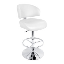 "Lumisource - Regent Bar Stool, White - 19"" L x 19"" W x 41 - 46"" H"
