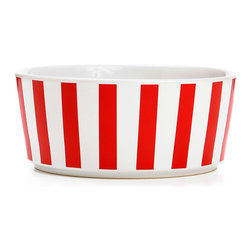Waggo - Stripey Soiree Ceramic Dog Bowl, Red, Medium - Your pup can be the life of the party with our Stripey Soiree dog bowls! These boldly striped bowls are available in three classic colors to match any decor- Red, Navy and Rose Gold. Choose a favorite or mix and match with your favorite Waggo dog bowls.