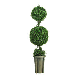 Nearly Natural - 5' Double Ball Leucodendron Topiary with Decorative Vase (Indoor/Outdoor) - A full 5 feet tall, this dynamic duo makes a bold statement in any space. This lush traditional green sculpture contains an abundance of rich silk foliage. A mix of 2008 delicate leaves around the base and stem creates an authentic appeal that can't be beat. A slender neutral shaded vase adds a nice touch to this expertly crafted work of art. Perfect for both indoor and outdoor use.