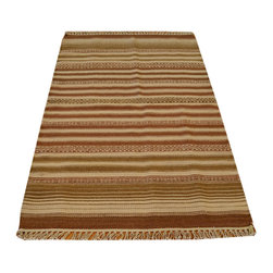 Area Rug, Striped Durie Kilim 3'X5' Flat Weave 100% Wool Hand Woven Rug SH13762 - Soumaks & Kilims are prominent Flat Woven Rugs.  Flat Woven Rugs are made by weaving wool onto a foundation of cotton warps on the loom.  The unique trait about these thin rugs is that they're reversible.  Pillows and Blankets can be made from Soumas & Kilims.