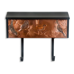 Wild Birds Locking Wall-Mount Copper Mailbox with Newspaper Holder - Bring nature a little closer with the Wild Birds Locking Wall-Mount Copper Mailbox. The copper front is hand-embossed with a variety of songbirds on pine branches, and a newspaper holder to keep your daily paper handy.