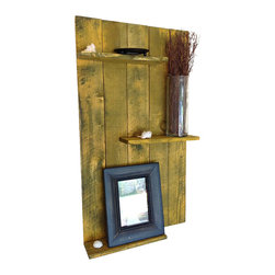 (del)Hutson Designs - Reclaimed Wood Wall Shelf, Yellow - Our newest addition to (del)Hutson Designs! Nice clean lines and a really nice shabby chic color