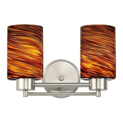 Design Classics Lighting - Satin Nickel Modern Bathroom Light with Brown Art Glass - 702-09 GL1023C - Contemporary / modern satin nickel 2-light bathroom light. Takes (2) 100-watt incandescent A19 bulb(s). Bulb(s) sold separately. UL listed. Damp location rated.