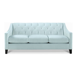 Chloe Fabric Velvet Metro Living Sofa, Seafoam - I love this tufted velvet sofa. It is perfect for three people, and it's uber cozy.