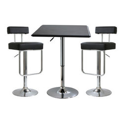 New Buffalo Corp. - Amerihome 3-Piece Contemporary Adjustable Height Bar Set - The Amerihome 3-Piece Adjustable Height Bar Set includes two Adjustable height bar stools and one Adjustable height bar table. The polished chrome base and Black vinyl seats have classic style that easily fits into the decor of nearly any kitchen, bar, shop, dorm room or game room.