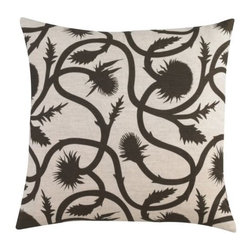 DwellStudio - Thistle Vine Pillow by DwellStudio - A super-soft pillow with a sharp pattern. The DwellStudio Thistle Vine Pillow recreates the outline of the spiky flower in sharp relief against a beige background. The pattern is available in three colors, hand-printed on the linen-cotton blend cover. Includes a down feather insert for maximum cushiness.DwellStudio, founded in 1999 by Christiane Lemieux, specializes in home furnishings steeped in modern design. With a unique sense of color and a strong commitment to quality and innovation, DwellStudio continues to create its own distinctive interpretation of modern home furnishings. In the same creative spirit, the company encourages their customers to experiment with mixing various DwellStudio textile lines together.The DwellStudio Thistle Vine Pillow is available with the following:Details:Made of 59% linen and 41% cotton blendHand-printed patternIncludes down feather insertMade in LithuaniaOptions:Color: Amethyst, Ash, or Major Brown.Shipping:In Stock items ship within 1 business day. Others usually ship within 2 weeks unless otherwise noted.
