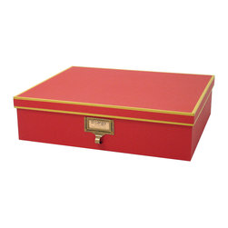 Cargo - Cargo Atheneum Document Box - A classy way to eliminate clutter. Now you can store your documents and other important papers in one place with this elegant document box, available in four delightful color combinations. Coordinate with other items from the Cargo Atheneum collection, which all feature an antiqued brass label frame with library-style pull, for the ultimate in stylish organization. No library science degree required.