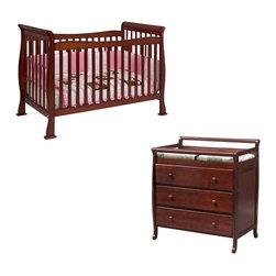 Da Vinci - DaVinci Reagan 4-in-1 Convertible Crib Nursery Set with Toddler Rail in Cherry - Da Vinci - Baby Crib Sets - M2801CM4755Cpkg.