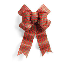 """Frontgate - Pre-Made 24"""" Plaid Outdoor Bow - Rich color and fullness, with your choice or Red, Burgundy, or Plaid. Indoor/outdoor weather resistant. Wired edges hold their shape. Sold separately. Add instant color to wreaths and garlands with our Pre-made Bows. Double-stitched seams with heavy gauge wire shape easily and won't fray. Made of UV-coated, weather-resistant poly-acrylic fabric.  .  .  . ."""