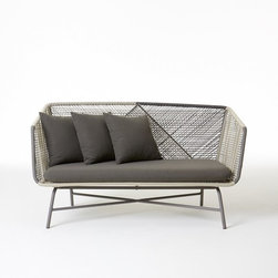 Huron Sofa, Gray/Seal - Outdoor furniture can sometimes all start to look the same, so when something is different, it becomes a really interesting piece. This cord and aluminum frame is definitely unique and full of modern edge.