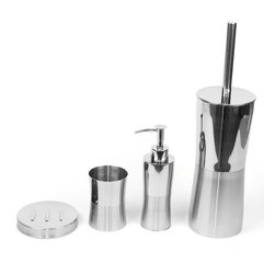 Gedy - Primula Round Stainless Steel Bathroom Accessory Set - Stylish, trendy bathroom accessory set which includes toothbrush holder, soap dispenser, soap dish, and toilet brush. Collection made of stainless steel. Bathroom accessory set. Made out of stainless steel. Great Value. From the Gedy Primula collection. Included in set:. Toothbrush Holder Gedy PR98-21. Soap Dispenser Gedy PR81-21. Soap Dish Gedy PR11-21. Toilet Brush Holder Gedy PR33-21.