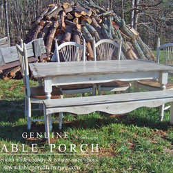 Custom Dining Tables - The Classic Farmhouse dining table is finished in Picket Fence with Summer distressing. Please go www.fableporchfurniture.com for more information.