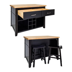 "Inviting Home - Delray Kitchen Island with Bar Stools (black) - Boston table style kitchen island in distressed black finish; Delray kitchen island with bar stools; Two matching saddle stools included; 17-1/2"" x 11-3/4""x 23-3/4"" 1-3/4"" hard maple Delray butcher block top sold separately; This furniture style island is manufactured using the highest quality furniture grade hardwoods and MDF. This slab front island features two working drawers removable center wine rack and adjustable open shelves on one side and seating space on the other. The deep drawers are dovetailed solid hardwood and are mounted on full extension undercount soft-close slides; Espresso finish is applied by hand. Two matching saddle stools included (17-1/2"" x 11-3/4""x 23-3/4""). Hard maple edge grain Delray butcher block top sold separately."