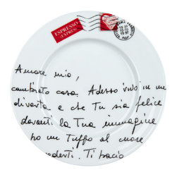 Konitz - S/4 Plates - Amore Mio - Scrawled with sweet nothings in Italian and stamped with love, these sweet plates are straight out of your daydreams. Perfect for serving lunch with a little side of romance.