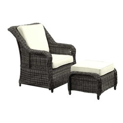 Modway - Du Jour Armchair in Gray White - Its going to be a great day topped with all your favorites. Du Jour is a freshly served chair and ottoman set that matches your sensibilities no matter what strikes your fancy. From the tufted lining on the intricately woven rattan, to the all-weather plush cushions, enjoy each moment with a piece that will last you many momentous occasions.
