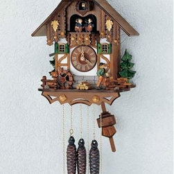 Schneider Cuckoo Clocks - Black Forest One-Day Antique 12-Inch Cuckoo Clock - -Fitted with a 1-day rack strike movement no. 25 with strike and cuckoo call on the half and full hour  -Handpainted wooden braun  -Musical Swiss movement playing two different melodies and a total of 22 notes  -Wooden dial and wooden hands, wooden cuckoo, with manual shut-off lever for strike, cuckoo call and music  -Wood chopper, water wheel  -Manufactured in Germany Schneider Cuckoo Clocks - MT 6563/9