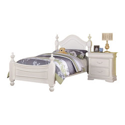 """Acme - 5-Piece Classique Collection White Finish Wood Twin Bedroom Set - 5-Piece Classique collection white finish wood twin bedroom set with decorative handles and spindle top posts. This set includes the Twin bed with decorative handles, nightstand, dresser, mirror and chest. Twin bed measures 52"""" H to the top of the headboard. Nightstand measures 26"""" x 16"""" x 28"""" H. Dresser measures 56"""" x 16"""" x 37"""" H. Mirror measures 28"""" x 39"""". Chest measures 27"""" x 20"""" x 57"""" H. Also available in full size, and additional pieces also available separately. Some assembly required."""