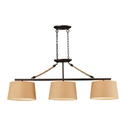 Elk Lighting - EL-73046-3 Natural Rope 3-Light Billiard in Aged Bronze - Natural rope 3 light billiard in aged bronze