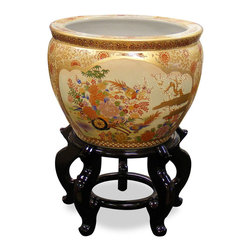 China Furniture and Arts - 14in Hand Painted Satsuma Design Fishbowl - This beautiful fishbowl is made in Satsuma style, which elaborately employs the use of gold. Used as a cachepot, it gives a plant a decorative place to call home. The interior is an underwater scene of gold fish swimming in circular along the edge of the bowl. Stand sold separately.