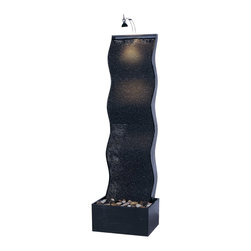 """Kenroy Home - Kenroy Home Black Sierra Indoor Floor Fountain - Water and light are gorgeous when combined with artful curves and a graceful drop. Add vertical interest and please all the senses with this modern accent piece. The textured ribbed backdrop provides the perfect surface for the water to gently roll down. Polished natural stones add an organic touch. The top light is the finishing on this masterpiece. Black finish. For indoor use only. From the Kenroy Home fountain collection. Adjustable water flow. Halogen bulbs included. 61"""" high. 17"""" wide. Extends 12"""" from wall. Soft halogen lighting decoratively illuminates your fountain includes spare bulbs. Polished river stones included. 1 year Manufacturer warranty included.  Kenroy Home indoor floor fountain design.  Black finish.  Indoor rated only.  Adjustable water flow.  Halogen bulbs included.  61"""" high.  17"""" wide.  Extends 12"""" from wall."""