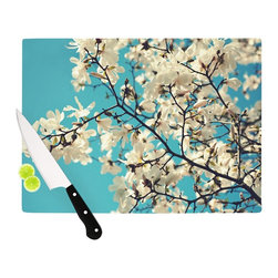 """Kess InHouse - Sylvia Cook """"White Magnolias"""" Aqua White Cutting Board (11.5"""" x 15.75"""") - These sturdy tempered glass cutting boards will make everything you chop look like a Dutch painting. Perfect the art of cooking with your KESS InHouse unique art cutting board. Go for patterns or painted, either way this non-skid, dishwasher safe cutting board is perfect for preparing any artistic dinner or serving. Cut, chop, serve or frame, all of these unique cutting boards are gorgeous."""