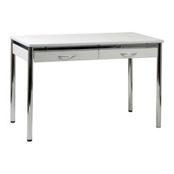 Eurostyle - Eurostyle Laurence-L Office Desk in White Leather & Chrome - It's easier to get back to work when you're surrounded with sophisticated  modern style. The Laurence Leather Desk features a chromed steel base complemented by your choice of leather. The Laurence Leather Desk is perfect for both the home and office  offering plenty of space for your computer and drawers for storage. The high quality construction of the Laurence Leather Desk makes it ideal for commercial use.