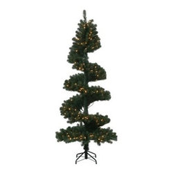 7 ft. Spiral Pine Dura-Lit Christmas Tree - The 7 ft. Spiral Pine Dura-Lit Christmas Tree puts a twist in your holiday decor. This festive tree features a PVC construction with realistic branches and tips, but with a spiral design that gets noticed in any room. Its charming lights offer a warm glow to any setting.Don't Forget to Fluff!Simply start at the top and work in a spiral motion down the tree. For best results, you'll want to start from the inside and work out, making sure to touch every branch, positioning them up and down in a variety of ways, checking for any open spaces as you go.As you work your way down, the spiral motion will ensure that you won't have any gaps. And by touching every branch you'll create the desired full, natural look.About VickermanThis product is proudly made by Vickerman, a leader in high quality holiday decor. Founded in 1940, the Vickerman Company has established itself as an innovative company dedicated to exceeding the expectations of their customers. With a wide variety of remarkably realistic looking foliage, greenery and beautiful trees, Vickerman is a name you can trust for helping you create beloved holiday memories year after year.
