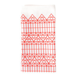Strasbourg Tea Towel - 100% cotton tea towel, with a hand printed half-timbered design reminiscent of the typical houses in Strasbourg, France.  With a classic red and white graphic pattern, these dish towels will add a unique touch to your kitchen.