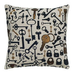 Rizzy Home - Rizzy Home Black and Gold Key Print Decorative Throw Pillow - T04935 - Shop for Pillows from Hayneedle.com! The key to any successful remodel is adding the Rizzy Home Black and Gold Key Print Decorative Throw Pillow. A smart way to refresh your sofa this accent pillow is made of 100% cotton slub fabric with natural texture. Its black key design includes embroidery stitching for added detail. This pillow includes a hidden zipper and removable polyester insert. Dry clean only.About Rizzy HomeRizwan Ansari and his brother Shamsu come from a family of rug artisans in India. Their design color and production skills have been passed from generation to generation. Known for meticulously crafted handmade wool rugs and quality textiles the Ansari family has built a flourishing home-fashion business from state-of-the-art facilities in India. In 2007 they established a rug-and-textiles distribution center in Calhoun Georgia. With more than 100 000 square feet of warehouse space the U.S. facility allows the company to further build on its reputation for excellence artistry and innovation. Their products include a wide selection of handmade and machine-made rugs as well as designer bed linens duvet sets quilts decorative pillows table linens and more. The family business prides itself on outstanding customer service a variety of price points and an array of designs and weaving techniques.