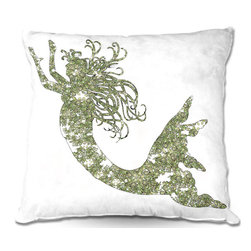 DiaNoche Designs - Pillow Linen by Susie Kunzelman - Mermaid Green - Add a little texture and style to your decor with our Woven Linen throw pillows. The material has a smooth boxy weave and each pillow is machine loomed, then printed and sewn in the USA.  100% smooth poly with cushy supportive pillow insert with a hidden zip closure. Dye Sublimation printing adheres the ink to the material for long life and durability. Double Sided Print, machine wash upon arrival for maximum softness. Product may vary slightly from image.