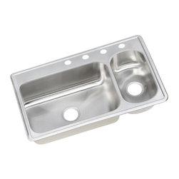 """Elkay - Elkay Dayton Elite 33 x 22 Double Bowl Sink Right Prep Sink (DEMR23322R4) - Elkay DEMR23322R4 Dayton Elite 33"""" x 22"""" Double Bowl Sink with Four Holes and Right Prep Sink, Stainless Steel"""
