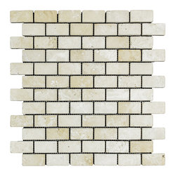 STONE TILE US - Stonetileus 10 pieces (10 Sq.ft) of Mosaic White-Medium1x2 Tumbled - STONE TILE US - Mosaic Tile - White-Medium1x2 Tumbled Coverage: 1 Sq.ft size: 1x2 - 1 Sq.ft/Sheet Piece per Sheet : 72 pc(s) Tile size: 1x2 Sheet mount:Meshed back Stone tiles have natural variations therefore color may vary between tiles. This tile contains mixture of white - light brown - and color movement expectation of low variation, consistent, The beauty of this natural stone Mosaic comes with the convenience of high quality and easy installation advantage. This tile has surface, and this makes them ideal for floor, walls, kitchen, bathroom, outdoor, Sheets are curved on all four sides, allowing them to fit together to produce a seamless surface area. Recommended use: Indoor - Outdoor - High traffic - Low traffic - Recommended areas: White-Medium1x2 Tumbled tile ideal for floor, walls, kitchen, bathroom,Free shipping.. Set of 10 pieces, Covers 10 sq.ft.