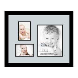 ArtToFrames - ArtToFrames Collage Photo Frame  with 1 - 8x10 and 2 - 4x6 Openings - This classic Satin Black, 1.25 inch thick collage frame, presents a setup for 1 - 8x10 and 2 - 4x6 snapshots of your choice. This collage is part of an extensive collage frame group and boasts a broad line of premium quality frames at a low-cost you can be happy about! Handmade and developed to suit your snapshots making sure you 1 - 8x10 and 2 - 4x6 art will fit right in. Bordered in a vivid prominent Satin Black, sophisticated frame and accompanied by a sophisticated Baby Blue mat, the collage arrangement most definitely showcases your very own prized artwork, and the greatest memories in an entirely incredible and creative way. This collage frame comes protected in Regular Glass, handy with appropriate hardware and can be presented within a few seconds. These premium quality and authentic wood-based collage frames differ in design and size specifics; all in contemporary and modern design. Mats are available in a myriad of color tones, openings, and shapes. It's time to tell your story! Preserving your saving your memories in an original and imaginative brand-new way has never been easier.