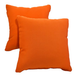 "Dola - Outdoor Patio Accent Pillows, Orange - Enhance the look of your outdoor furniture with the Verano outdoor throw pillow.Comfort is just as important for the patio as it is for inside your home, so dress up your sectional or conversation set with patio furniture pillows. These stylish outdoor, 15"" x 15"" weather resistant accent pillows are available in variety of bright, neutral and earth toned colors. Made from 100% polyester, they come with zippered covers which are removable for easy washing. For purchase in sets of two."