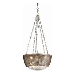 Arteriors Home - Chainmail Glass Light Pendant - Arteriors Home DK42043 - The Chainmail Pendant from Arteriors features a modern classic form. This mercury bowl pendant presents a chainmail covering its glass surface, inspired by the emperor's link armor in Beijing's Forbidden City.Designer: Laura KirarFeatures: Antique Brass/Distressed Mercury Finish