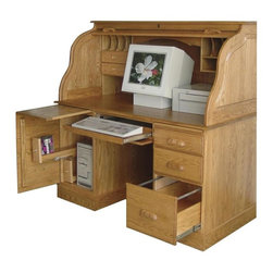 Chelsea Home - 54 in. Roll Top Desk in Sand Finish - Artfully decorative curved side panels. File cabinet and two CD racks. Lock on tambour. 21 in. wide knee space. Full extension drawers with standard wood hardware. Writing board above each pedestal. One letter size file drawer and file rails in right pedestal. CPU storage with adjustable shelf in left pedestal. Made from mortise and tenon solid wood joint. Red oak finish. Made in USA. No assembly required. 54 in. W x 29 in. D x 54 in. H (310 lbs.)Chelsea Home Furniture proudly offers heirloom quality furniture, custom made for you. What makes heirloom quality furniture? Its knowing how to turn a house into a home. The best nature has to offer. Its creating memories. Its ensuring the furniture you buy today will still be the same 100 years from now. Every piece of furniture in our collection is built by expert furniture artisans with a standard of superiority that is unmatched by mass-produced composite materials imported from Asia or produced domestically. Many pieces are signed by the craftsman that produces them, as these artisans are proud of the work they do. In addition, our craftsmen use tongue-in-groove construction, and screws instead of nails during assembly and dovetailing both painstaking techniques that are hard to come by in todays marketplace. So adorn your home with a piece of furniture that will be future history, an investment that will last a lifetime.