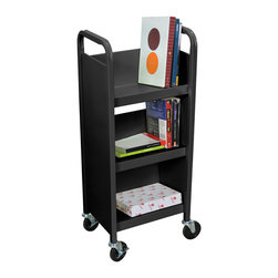 """Luxor - Luxor Book Truck - BT3S17-B - Luxor's book truck series are constructed of 18 gauge steel with a powder coat paint finish. Includes 4"""" quiet and easy rolling ball bearing casters. All shelves have a 10 degree tilt and 10 1/2"""" clearance between. Each shelf is 9 1/2"""" in depth."""