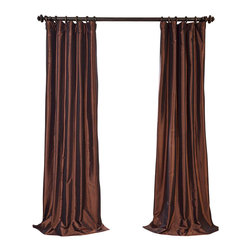 """Exclusive Fabrics & Furnishings - Rum Raisin Blackout Faux Silk Taffeta Curtain - SOLD PER PANEL . 56% Nylon 44% Polyester .Blackout Curtain - Lined (ivory color) & Interlined (black cotton flannel) . 3"""" Pole Pocket with Hook Belt .Dry Clean Only ."""