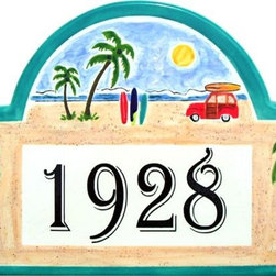 Beach Woodie and Palms Address Plaques - To find out more and how to order click here: http://www.classyplaques.com/beach-woodie-and-palms-address-plaques/
