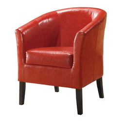 Linon - Upholstered Club Chair w High Arms & Deep Seat (Red) - Simon Collection. High arms and a deep seat. Arching backrest and flared armrests provide a retro-modern design. Accentuated by tightly woven stitching. Upholstered with stain and fade resistant wipe-clean vinyl. Arms and back are generously padded for extra comfort. Hardwood frame will provide strength and stability for years to come. Only for residential use. No commercial usage. Minimal assembly required. 28.35 in. W x 25.98 in. D x 32.68 in. HThis modern Simon Club Chair features high arms and a deep seat, while the arching backrest and flared armrests provide a retro-modern design that is perfect for any setting. The chair is accentuated by tightly woven stitching and upholstered with stain and fade resistant wipe-clean vinyl. The hardwood frame will provide strength and stability for years to come.  The arms and back are generously padded for extra comfort.