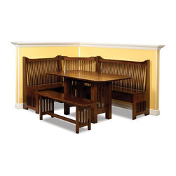 Mission Breakfast Nook Set - This Mission style Breakfast Nook Set is a handsome, cozy corner nook handcrafted by an Old Order Amish craftsman.  The bench has the characteristic Mission stretchers forming the seat backs.  This Mission nook set can be customized to fit your space.