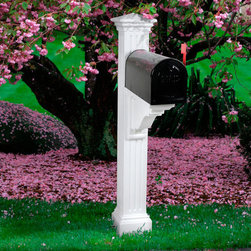Manchester Mailbox Post - The Manchester Mailbox Post will add an authentic architectural curb appeal to any home. It features a fluted post design with dentil molding around the cap and a scrolling curve on the support arm.