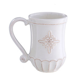 Jardins Du Monde Mug - Whitewash - Enchant your morning coffee guests with a cup of your finest French roast poured into the stunning Jardins Du Monde Mug. Simple in its whitewashed coloring yet intricately adorned with an elegantly curved handle and delicate embellishments, save this mug for your fanciest of coffee dates.