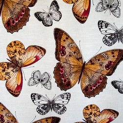 """Butterfly fabric toile fall orange brown - A butterfly fabric. A butterfly toile fabric in fall colors of brown and orange. For those that love butterflies! This has a very large scale and colors has a """"WOW"""" factor!"""