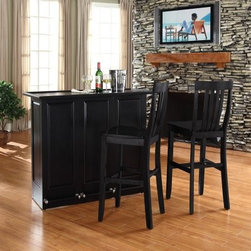 Crosley Mobile Folding Bar with School House Stools - Elegantly entertain guests with this mobile folding bar cabinet constructed of solid hardwood and wood veneers. The bar's handsome raised panels are classically styled to enhance any home decor. The unit can be folded up to a third of its size and tucked away when you are finished entertaining or just leave it open as a focal point in your room. Behind the bar you will find plentiful storage space for spirits glassware and a host of other bar items. When open the large 49-by-22-inch top is ideal for serving drinks or just hanging out with friends. Style function and quality make this mobile folding bar a wise addition to your home.