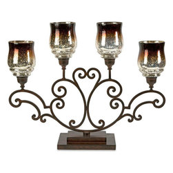 "Imax Worldwide Home - Middleton Centerpiece - The deep chocolate tone of the hurricane has an ombre effect and fades into the classic mirrored finish of mercury glass, giving this oversized candelabra a dramatic appearance. Holds pillar candles. ;Features: Materials: 75% Iron, 25% Glas;Country of Origin: India;Weight: 19.25 lbs;Dimensions: 22""h x 7""w x 28"""